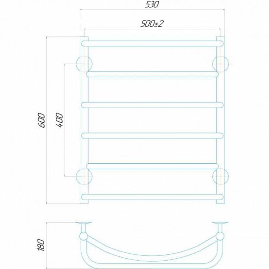 Рушникосушки Аквамікс П6 500x600 ЧФ праве підключення чорний