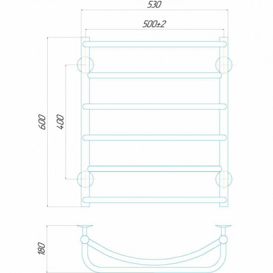 Рушникосушки Аквамікс П6 500x600 ЧФ ліве підключення чорний