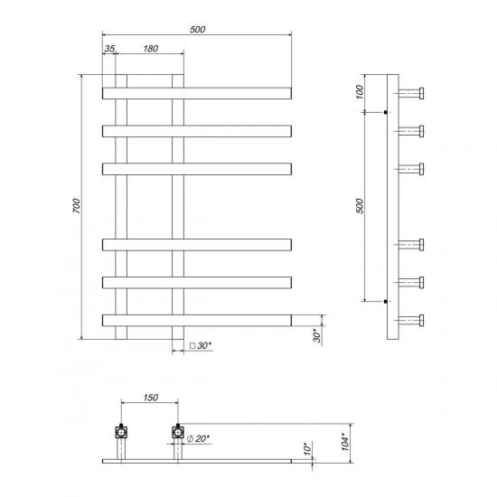 Рушникосушка водяна Atena П6 150x700 В нижнє підключення