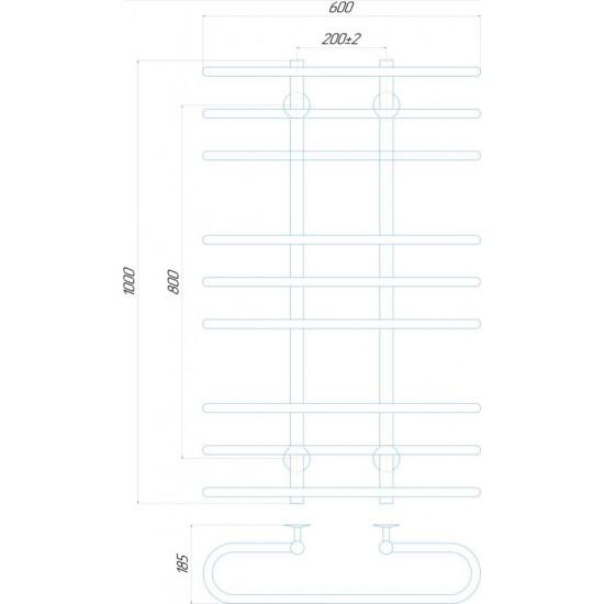 Рушникосушка водяна Британіка П9 600x1000 В нижнє підключення