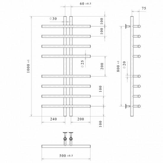 Рушникосушка водяна Gray П8 60х1000 В нижнє підключення