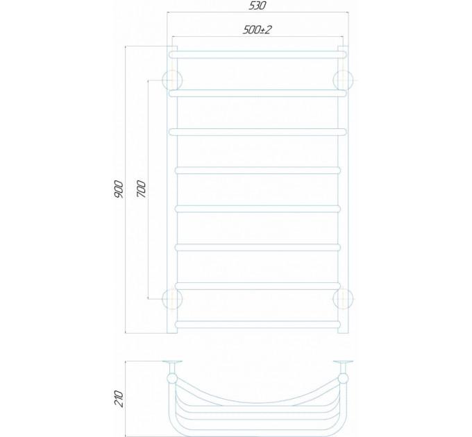 Електрична рушникосушка Каскад П8 500x900 Е ліве підключення