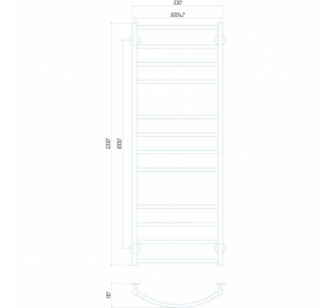 Рушникосушка водяна Класік Еліт П12 500x1200 В нижнє підключення