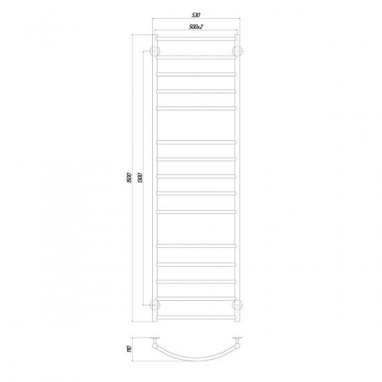 Рушникосушка водяна Класік Еліт П12 500x1500 В нижнє підключення чорний