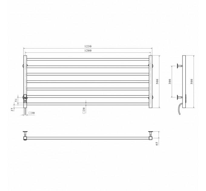 Електрична рушникосушка Level П7 1200х500 Е ліве підключення чорний