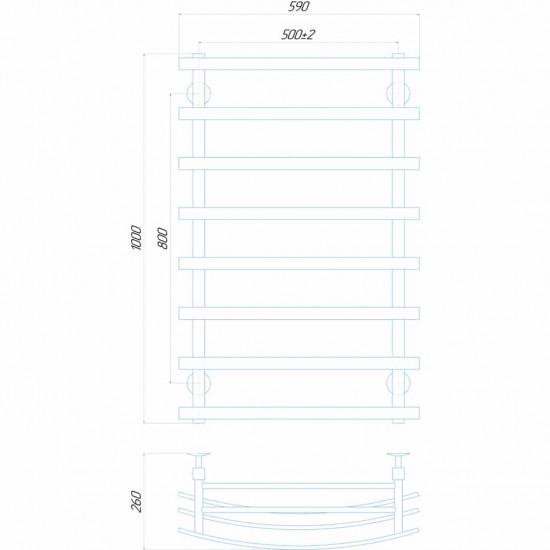 Рушникосушка водяна Лотос П8 500х1000 В бокове підключення