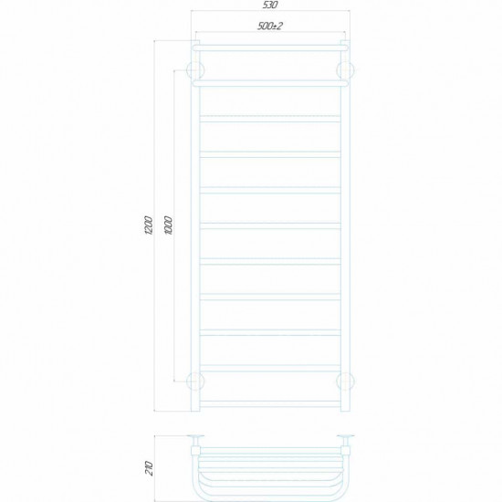 Електрична рушникосушка Люкс Отель П11 500x1200 Е праве підключення