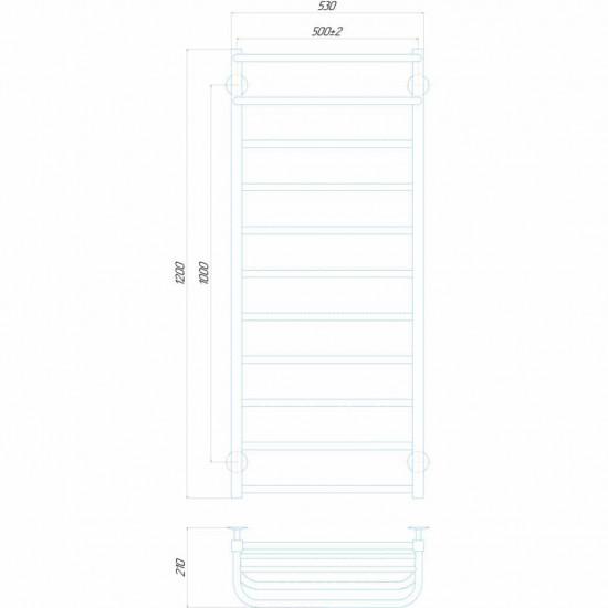 Рушникосушка водяна Люкс Отель П11 500x1200 В нижнє підключення