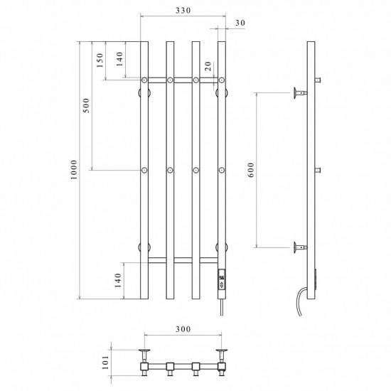 Електрична рушникосушка Split П4 300х1000 Е ліве підключення