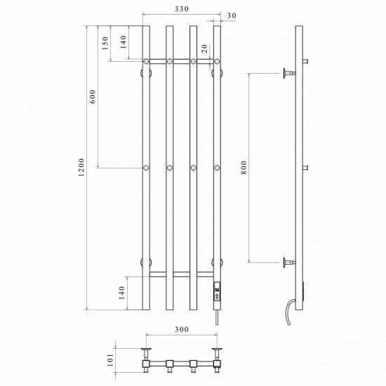 Електрична рушникосушка Split П4 300х1200 Е ліве підключення