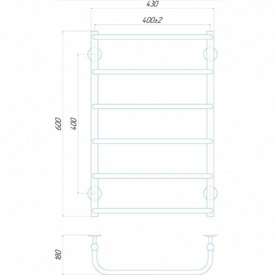 Рушникосушки Стандарт П6 400x600 ЧФ праве підключення білий