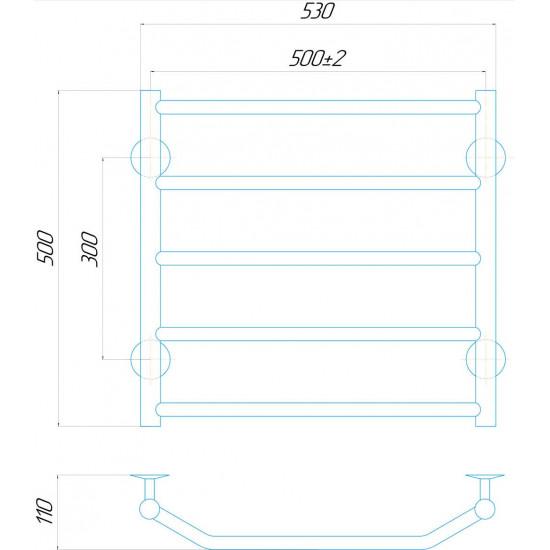 Рушникосушка водяна Трапеція П5 500x500 В нижнє підключення