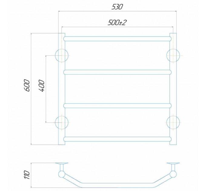 Рушникосушка водяна Трапеція П6 500x600 В нижнє підключення