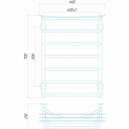 Рушникосушка водяна Юність П7 400x700 В нижнє підключення