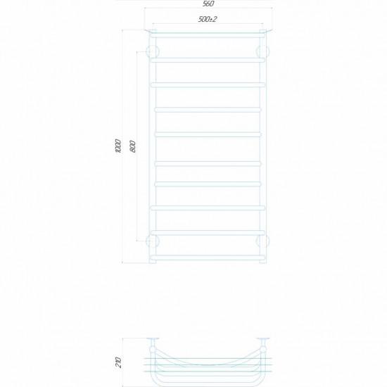 Електрична рушникосушка Юність П10 500x1000 Е праве підключення