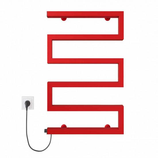 Електрична рушникосушка Zeta 500х675 Е ліве підключення червоний